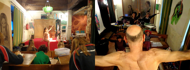 Modelos en el taller de dibujo al natural de Carmen la Griega (archivo de Carmen la Griega)