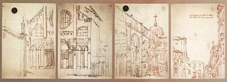 Canaletto: Basílica de los santos Giovanni e Paolo en Venecia. Bocetos obtenidos mediante una cámara oscura (Fuente: (https://miopesnocturnos.wordpress.com/tag/camara-oscura/).