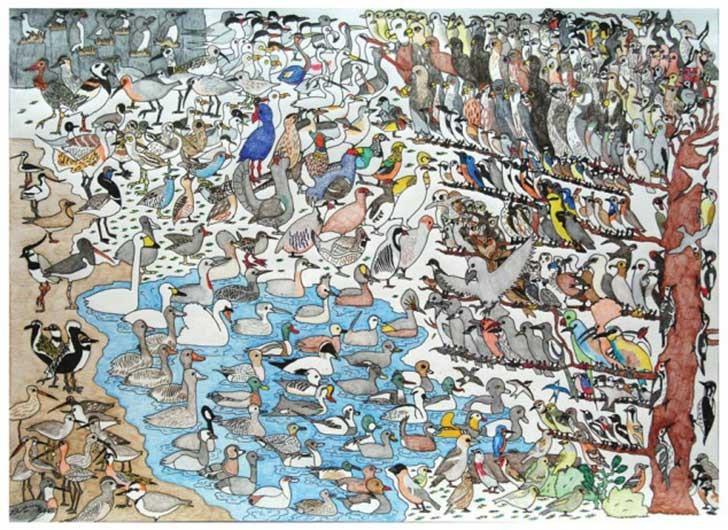 """""""Pájaros"""" por David Barth (a los 10 años). """"Según su madre """"Sus dibujos representan a menudo sus obsesiones actuales, no es difícil adivinar lo que lo mantiene ocupado en este momento. Hay cerca de 400 aves en él y él sabe los nombres y las denominaciones científicas de la mayoría de ellos"""" (Fuente: Upsocl)."""