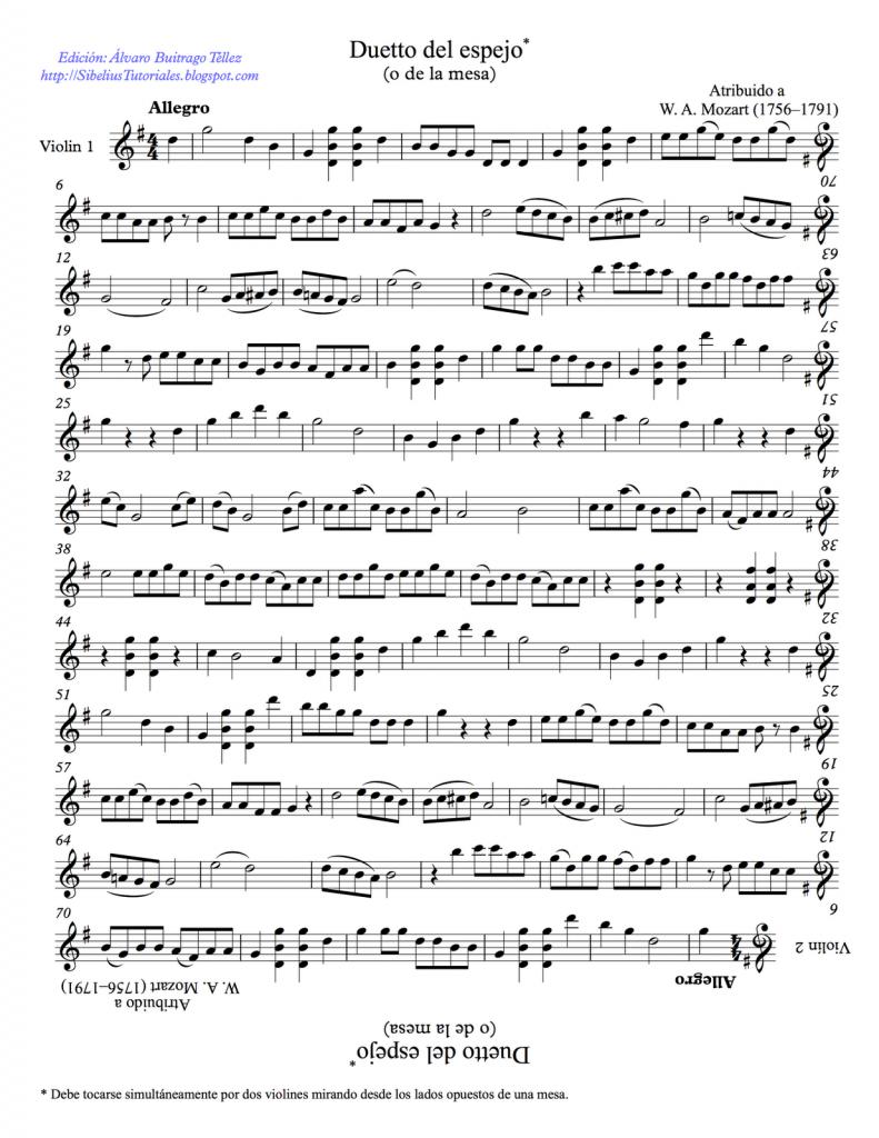 """Dúo para dos violines """"El Espejo"""". W.A. Mozart. Ejemplo de simetría en la música"""