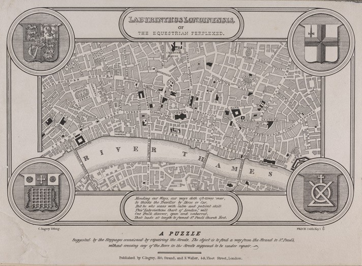 """""""Labyrinthus Londinensis, or the equestrian perplexed"""", litografía publicada por Ingrey, Charles (1830-1837), una de las curiosidades que ofrece la British Library Online Gallery (Londres, Reino Unido)."""