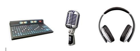 Mesa de mezclas de sonido, micrófono y auriculares.