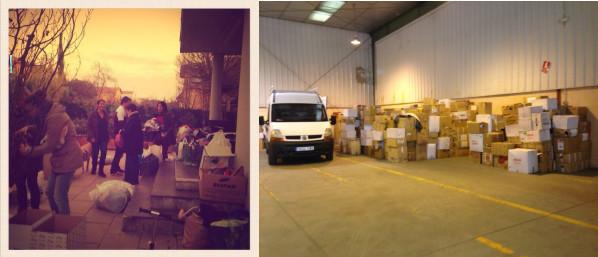 El equipo de padres que irán al campamento de refugiados de Calais (Francia) y el almacén de material de Caravana Solidaria preparando el envío a los campos de refugiados (Fuente: A Coffee for Regugees).