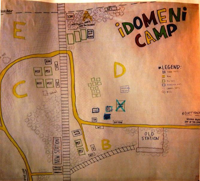 Mapa del Campo de Refugiados de Idomeni, en Grecia (Fotografía de Alicia Barba Guillén)